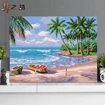 约竖版风景画餐厅挂画纯手绘玄关海上太阳日出走廊装饰画