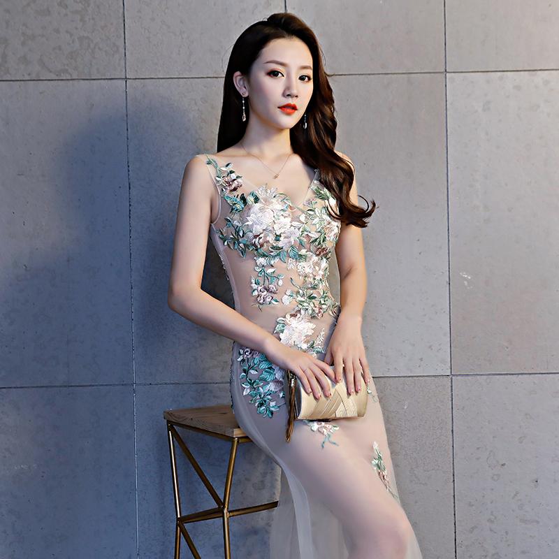 性感透明女装新款夜店透视装网纱长款连衣裙v领蕾丝修身显瘦工衣