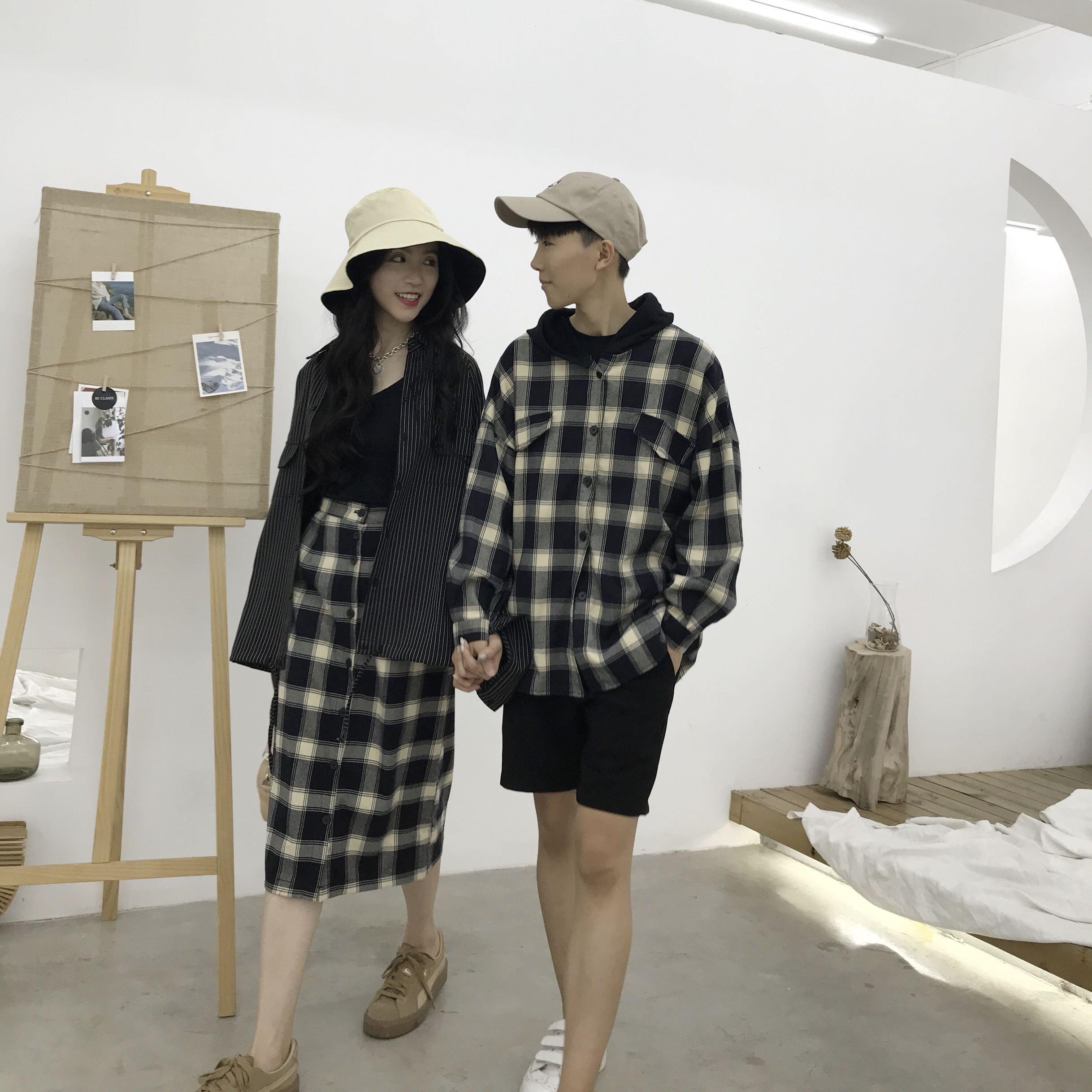 MicasMi自制 毛布格仔半身裙+衬衫 原创情侣装