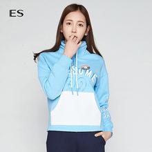 艾格ES时尚甜美纯色字母印花高领长袖套头卫衣女8A0328184图片