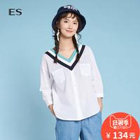 艾格ES2018夏新款女青春V领拼色七分袖休闲衬衫8E0314072