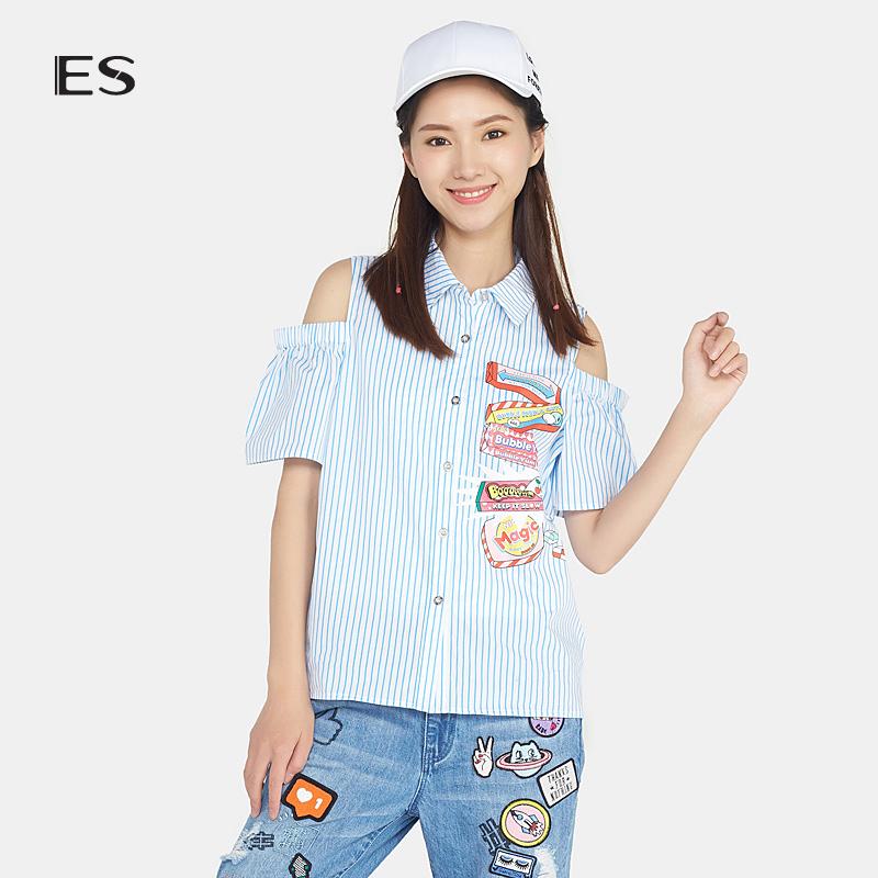 艾格ES夏新款时尚百搭露肩条纹印花翻领短袖衬衫女17031408445