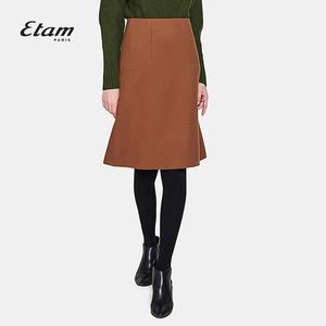 艾格Etam2017冬季时尚通勤纯色半裙8A011901271