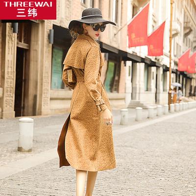 三纬2018秋季新款欧美时尚鹿皮绒中长款风衣女系带修身显瘦外套