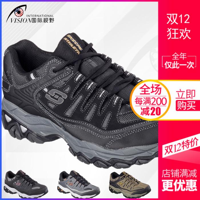 Skechers 斯凯奇男鞋防滑厚底增高系带舒适跑步休闲运动鞋50125