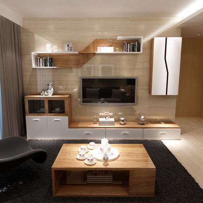 客厅电视柜组合柜简约现代北欧电视背景墙实木颗粒原木壁挂墙吊柜十大品牌