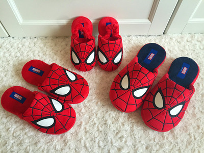 儿童棉拖鞋秋冬季亲子鞋情侣蜘蛛侠男童保暖防滑软底室内家居拖鞋