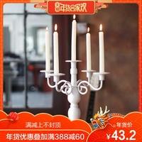 柔软时光 欧式复古铁艺烛台五头摆件浪漫烛光晚餐婚庆生日装饰品