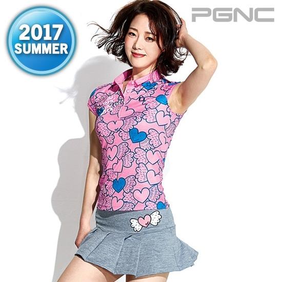佩极羽网 pgnc 羽毛球服套装女款 翻领粉色短袖+灰色短裙透气修身