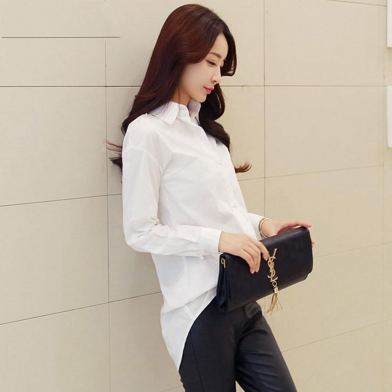 白衬衫女装长袖2018春装新款大码修身时尚打底韩版中长款衬衣夏季