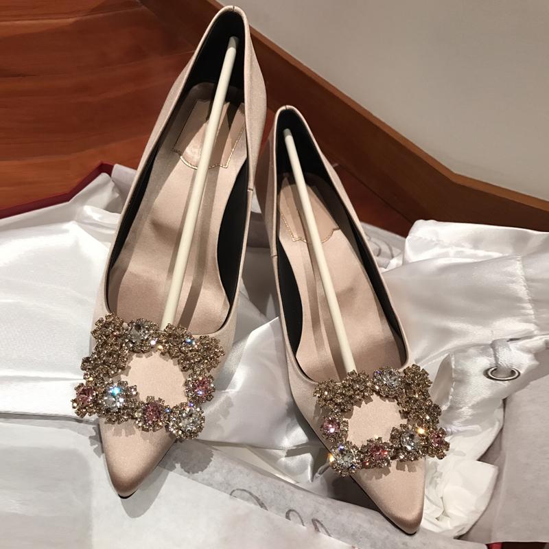 绸缎高跟鞋尖头女鞋