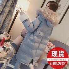 新款韩版过膝棉服大毛领羽绒棉衣女中长款chic面包服棉袄外套冬季