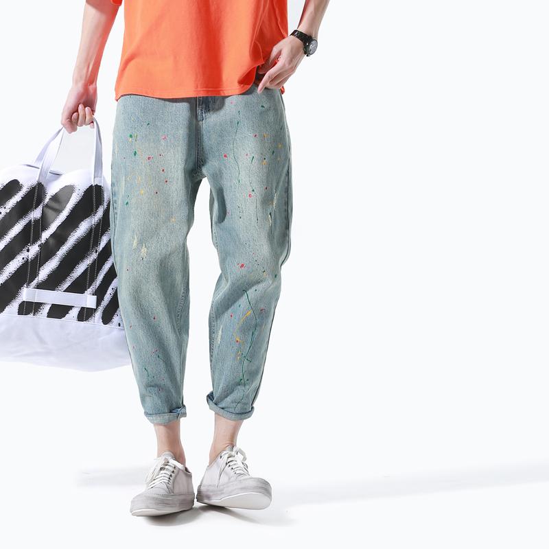 男士油漆牛仔裤