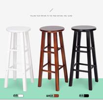 实木吧台椅休闲吧凳木质高脚凳酒吧凳复古吧台凳碳化家用圆凳木凳