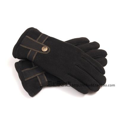 12年 李宁冬季男款户外 双层保暖摇粒绒手套 ASGG007-1黑-2棕-3蓝