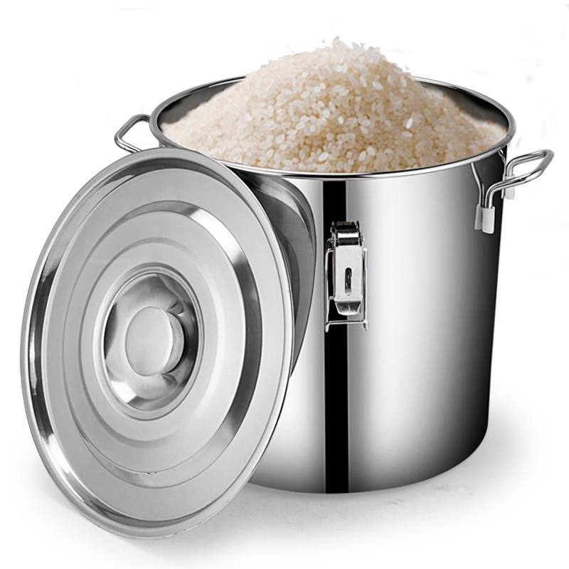 不锈钢米桶储米箱防虫防潮面桶50/30斤密封大米缸家用密封装米桶