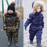 Winter children's down jumpsuit men's outing clothes thickening female baby down jacket jumpsuit suit ski big size