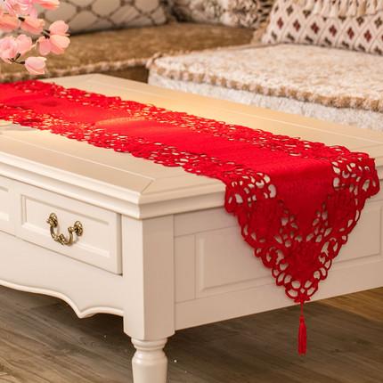 茶几餐桌旗 红色喜庆结婚庆客厅饭桌布电视柜旗欧式刺绣盖巾布艺