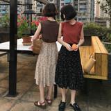 2018夏装新款韩版刺绣字母宽松无袖T恤+高腰百搭碎花半身裙套装女