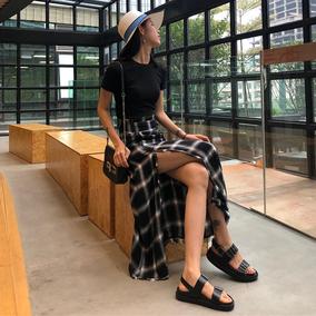 夏装女装韩版chic气质百搭纯色短袖T格子开叉A字半身裙时髦两件套