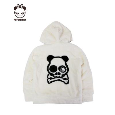 【熊猫特卖】HIPANDA 你好熊猫 设计潮牌 女款骷髅熊猫短毛绒外套