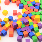 大块木制正方体立方体正方形积木块数学教具小方块玩具幼儿园方块