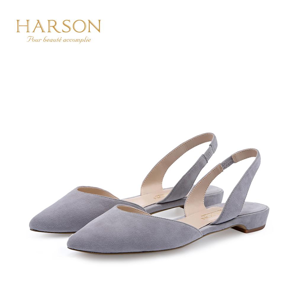哈森 2018夏季新款羊皮包头后空单鞋 尖头女鞋平底凉鞋女HM86401
