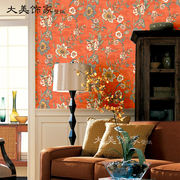 American country retro pure paper wallpaper orange red pastoral big flower bedroom porch bedside restaurant background wallpaper