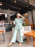 Net red temperament set two-piece set of air lazy cape top long waist shirt and micro-lama wide-legged pants woman