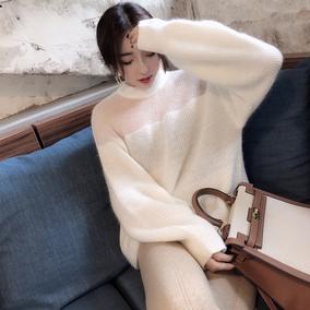 网红2018秋季新品拼接圆领毛衣马海毛灯笼袖宽松气质针织衫女韩版