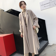 Winter new maple leaf red profile super-long overcoat double-sided wool wool wool cloth jacket loose women's knee style