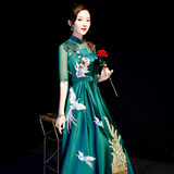 Purple edge 萱 sleeve long evening dress dark green team chorus costumes annual meeting hosted banquet show slim