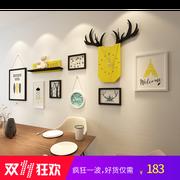 北欧装饰画组合大尺寸现代简约创意带时钟沙发背景墙客厅餐厅挂画
