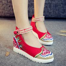 老北京布鞋女夏季2017新款百搭透气青年坡跟古风绣花鞋女内增高