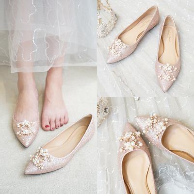 婚鞋女平底2019新款新娘鞋香槟色亮片平跟单鞋孕妇公主水晶婚纱鞋