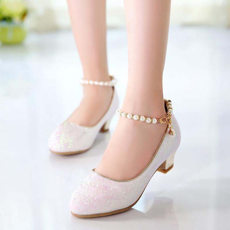 女童高跟皮鞋2019春秋新款春季单鞋小学生鞋子儿童小孩子的公主鞋