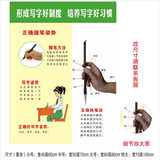Primary school students standard sitting posture correct holding pen writing posture method map poster wall stickers class layout wall chart