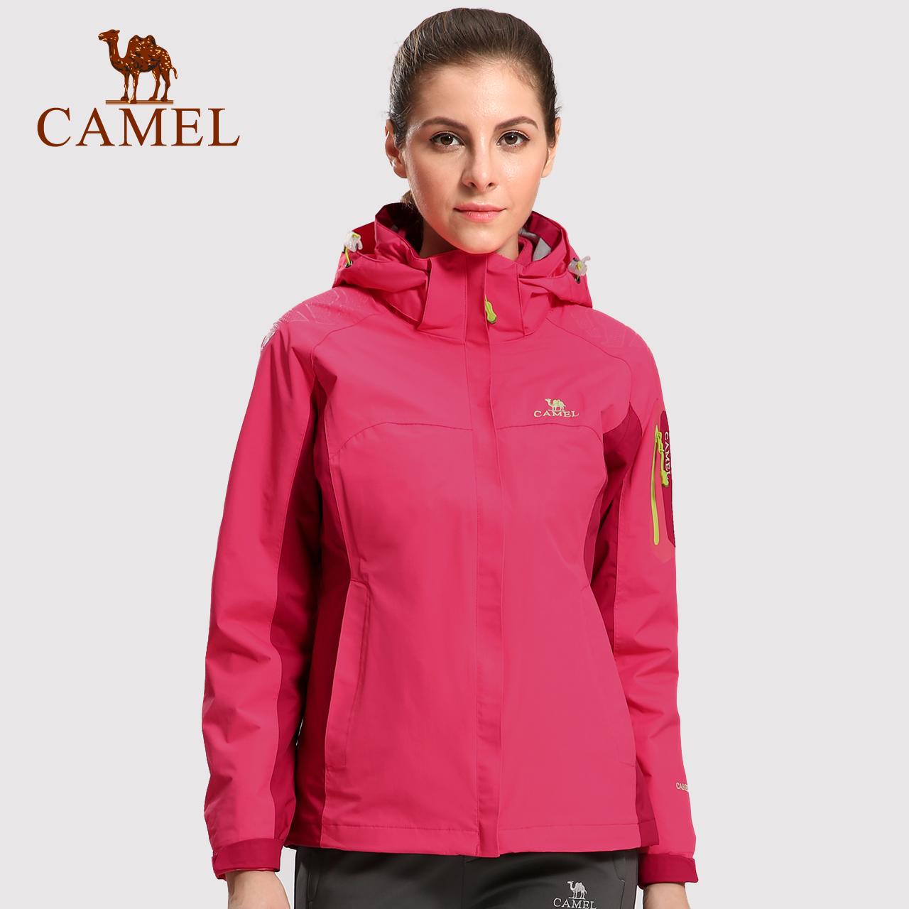 骆驼户外冲锋衣女冬季防寒加绒加厚三合一两件套登山服潮牌外套男