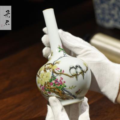 景德镇陶瓷器大师手绘珐琅彩中式花瓶陶瓷摆件客厅玄关装饰工艺品