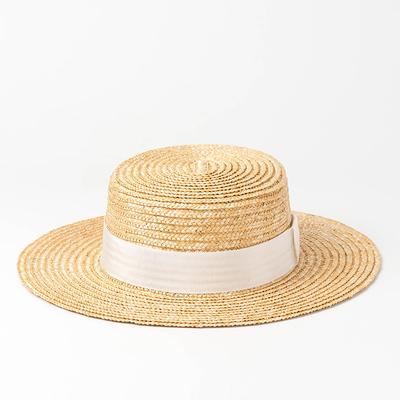 欧美春夏新款平顶麦秆草帽户外防晒旅游遮阳平顶礼帽沙滩草帽