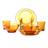 French DURALEX/ dorais glass tableware set double amber 6 piece tempered glass bowl