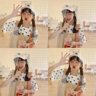 YUKI小树家 自制每个少女都需要拥有的波点短袖T恤韩国新款 t0314