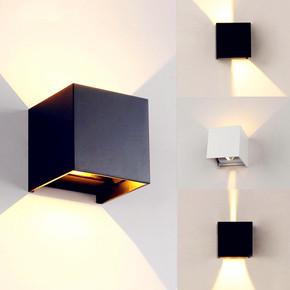北欧客厅酒店过道壁灯户外防水LED卧室床头方形调光壁灯外墙壁灯