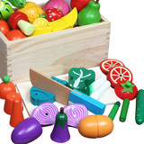 Children's house wooden magnetic cut fruit toys fruit and vegetables cuts boys and girls kitchen toys gifts