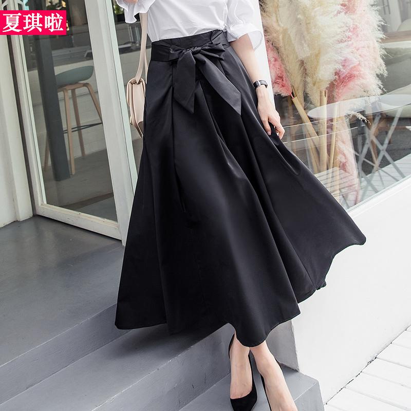 长款裙子女2018春夏新款高腰系带收腰chic复古a字裙时尚半身长裙
