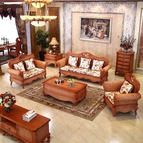 司库诺 藤沙发组合客厅真藤椅沙发五件套天然竹藤编沙发藤木家具