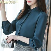 2018春装新款韩版立领小衫女长袖纯色修身显瘦上衣时尚百搭T恤衫