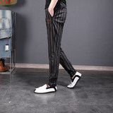 Summer thin section Slim casual pants men straight leg pants trend men's striped pants youth cotton pants male large size