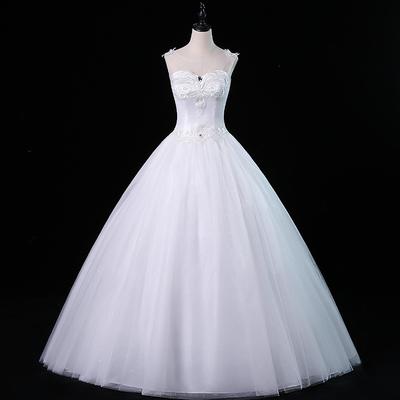 白色婚纱礼服女2018新款时尚简约韩版公主齐地大码新娘轻婚纱批发