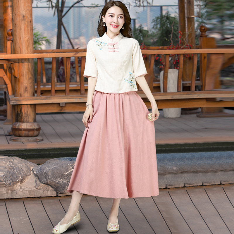 95cb3e78c Improved Tang suit female retro Chinese style two-piece Zen cotton and  linen art semi